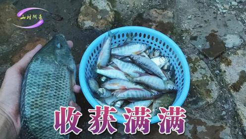 陆续降雨一个月后 到溪里撒网捕鱼 收获真多 这是农村天然的美食原料