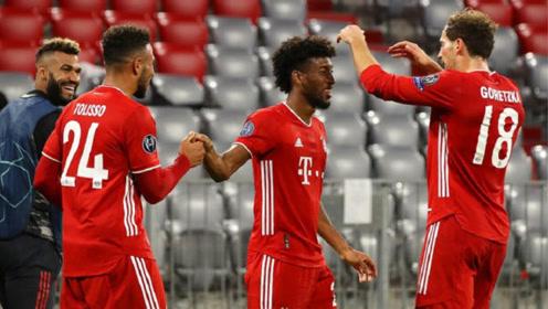 欧冠小组赛拜仁4-0大胜马竞!科曼梅开二度,并助攻格雷茨卡进球