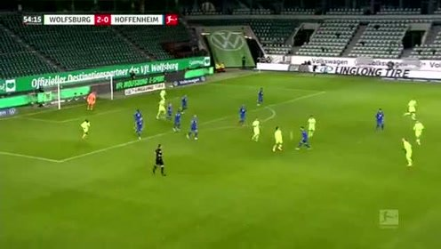 德甲-达布尔错失绝平点球 沃尔夫斯堡2-1霍芬海姆