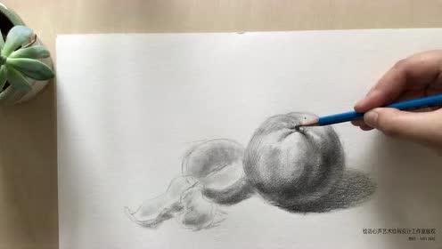 绘访心声艺术绘画设计工作室 素描橘子的画法