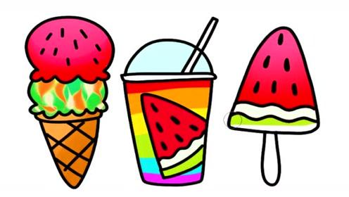 冰淇淋冰棒和饮料的简笔画视频