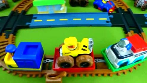 小狗玩具压路机车动物救援游戏