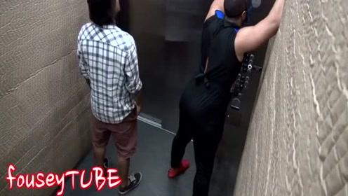 国外恶作剧搞笑视频电梯恶搞第一个妹子吓坏了