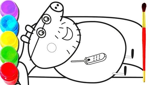 趣味简笔画:小猪爸爸看电视图片