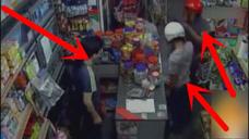 俩劫匪进店打劫, 店老板淡定抽出大刀, 吓的劫匪拔腿就跑!