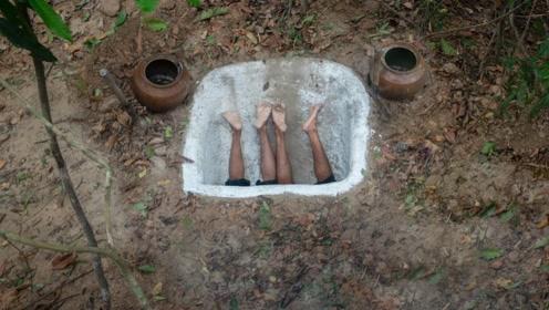 农村牛人掏空地下,挖出豪华泳池,钻进去的那刻惊艳才刚开始!