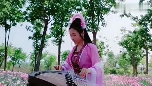 美女古筝弹奏《落花》,唯美的曲调,醉人心扉!