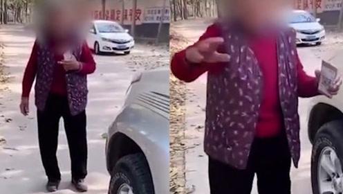 八旬老人举二维码拦车收费,每车每次10元,乡政府:她不缺钱,就是糊涂