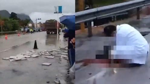 广西三轮车与货车相撞致两人死亡,警方:肇事司机已控制