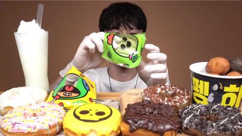 不同口味的甜甜圈好喜欢上面的巧克力