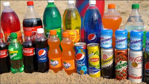小伙沙滩游玩,碳酸饮料制作巨型牙膏,真有意