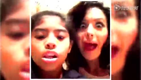 科比不在家! 瓦妮莎和爱女秒拍搞怪视频
