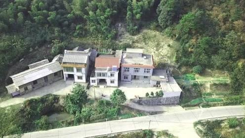 航拍湖南湘潭韶山,伟人故乡住得最高的几户农家路上居然安了监控