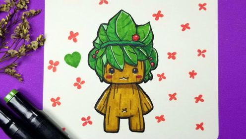 竟然用马克笔画出树木的质感,手绘迷你世界的迷梭梭