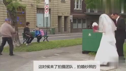 国外恶作剧:消失的熊孩子,钻进新娘裙子里然