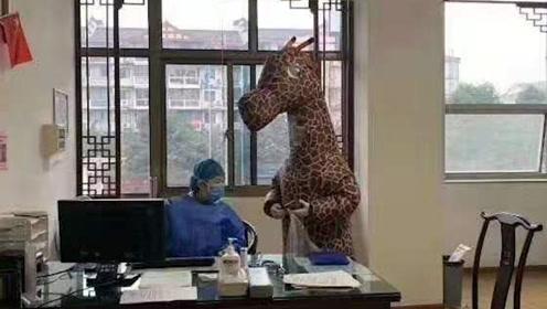 泸州女子穿长颈鹿服去医院挂号 专家提示:不可取