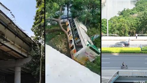 广州一公交车故障,拖车途中脱钩坠桥砸中地面小车,惊险现场曝光