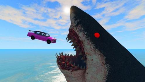高速汽车飞跃大桥,会变成鲨鱼饱腹之物吗?3D动画模拟太刺激!