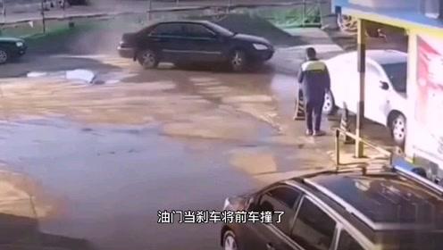 完整视频来,女司机洗车反复撞同一辆车,把加油员吓懵了