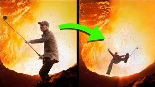 4个掉进火山的人,男子在火山口自拍,不慎掉入