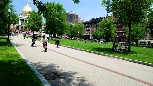 滑板车精彩集锦 穿梭于波士顿的街道