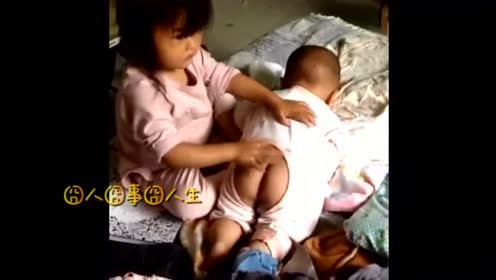 二胎宝宝的命好苦啊,面对这老大的挨打,二胎