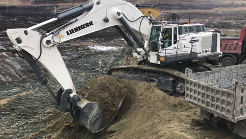 这利勃海尔984挖掘机厉害了,两斗就能装满一车泥