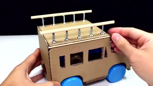 手工制作电动玩具小汽车硬纸板,瓶盖,小马达,吸管