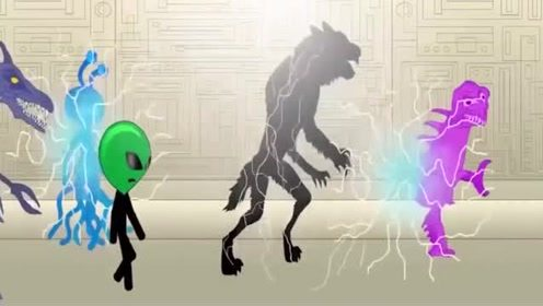 火柴人搞笑动画:火柴人被外星人抓走,一群怪