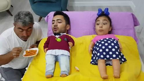搞怪大头宝宝与爷爷的趣味休闲娱乐视频