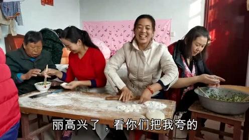 农村爸爸过生日,全家大团圆包饺子,有说有笑真热闹