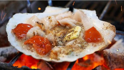 美食真香系列!日本大阪街头海鲜小吃!巨大扇贝!牡蛎!海胆!