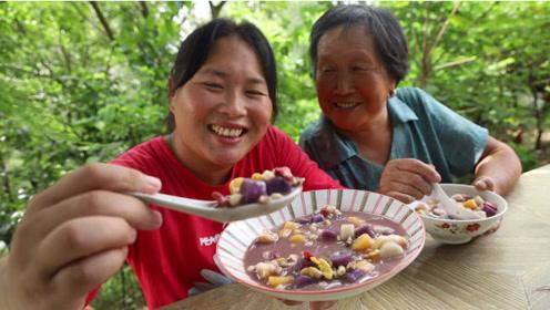 **胃口打不开,胖妹做夏日甜点,3色芋圆汤,清凉爽口吃过瘾