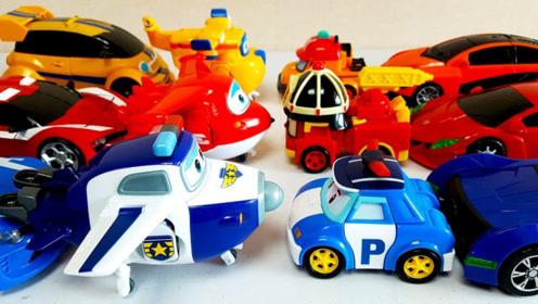 变形警车和机器人玩具还原成汽车