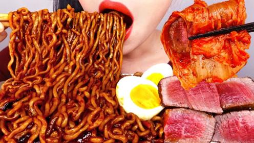 美食二倍速:小姐姐吃碳烤牛排,炸酱面,辣白菜,满嘴流油,太好吃