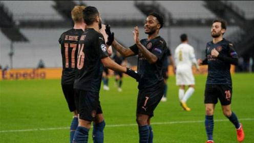 欧冠-德布劳内2助攻,斯特林传射,曼城客场3-0马赛