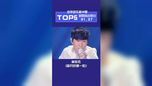 由你音乐榜第42期TOP5公布!林俊杰强势霸榜!新专辑有4首歌都排进前5jj出品,必属精品!