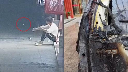 平阳一男子街头抽烟扔了烟蒂,结果把他人的车点燃了