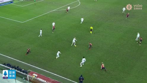意甲联赛第十七轮比赛精彩回顾 热那亞2-0博洛尼亞 德斯特罗禁区内推射破门