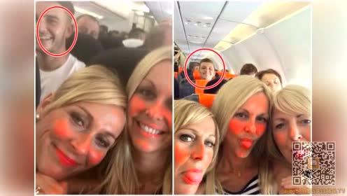 女子飞机上自拍 两年两次竟被同一男子抢镜