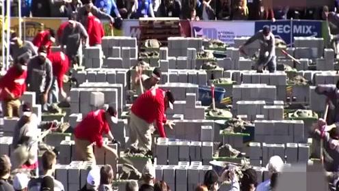 厉害了 外国砌墙的比赛 据说冠军直接奖励一万现