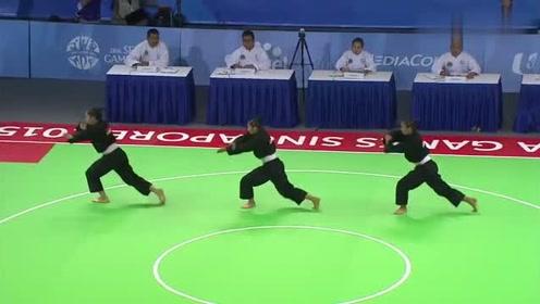 世界武术大赛,三姐妹表演本土功夫