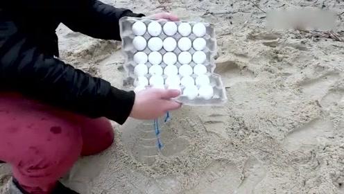 小哥来到一个沙滩,用可乐、曼妥思和鸡蛋,做了一个大胆的实验!