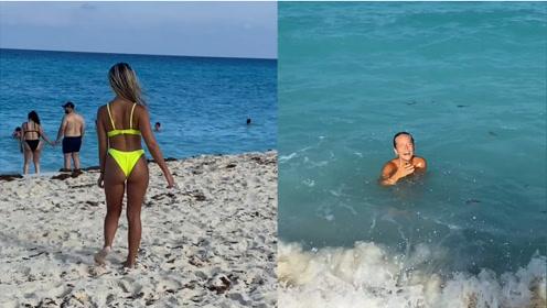 作死男子送女友可溶解比基尼,公共海滩拍视频