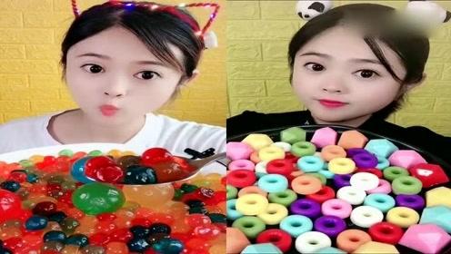 小姐姐直播吃果冻球、甜甜圈,各种颜色任意选,我儿时向往的生活