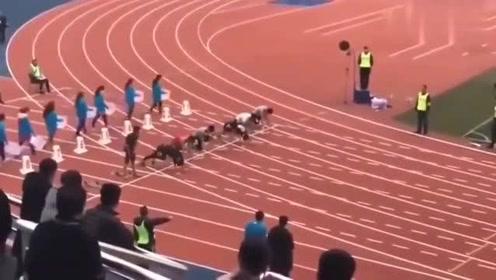 学校校运会,最后一道是这个学校最牛的体育生,这速度不服不行