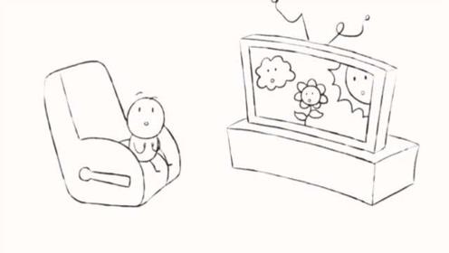 搞笑铅笔动画:小孩回到卧室看电视,听到敲门
