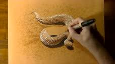 膜拜了!大神将一条蛇画得栩栩如生跟真的一样
