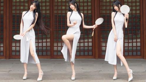 高跟旗袍版《芒种》,高挑纤细的妹子穿什么都
