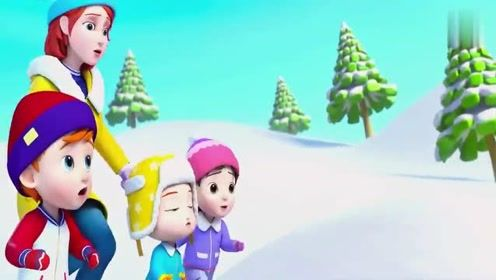 超级宝贝:爸爸在雪地上滑行,结果搞笑了,自